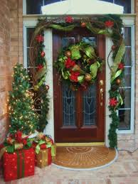Outdoor Christmas Decoration Ideas by Exterior Christmas Front Door Ornaments For Wooden Glass Entry