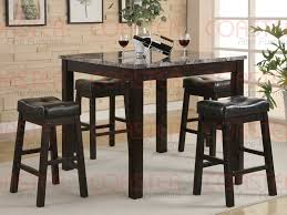 bar top table and chairs 5pc set counter height marble like top table bar