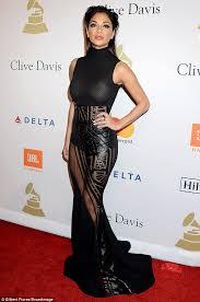 Christine Barnes Nicole Scherzinger Goes Braless In Sheer Dress At Pre Grammy Party
