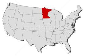 minnesota on map map of the united states minnesota highlighted vector
