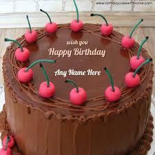 cherry chocolate flavour birthday cake sister write