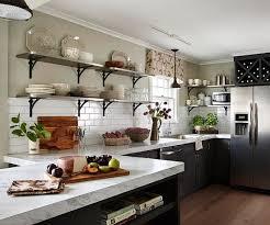 kitchen glamorous counters white subway tile paint open