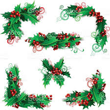 set of holly berries page decorations and dividers stock vector