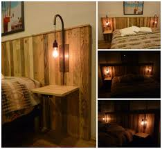 pallet bed headboard with lights tête lit en palettes et