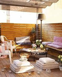 apartment diy balcony with pallet bench seats and vintage coffee