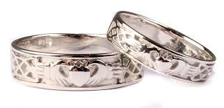claddagh wedding ring sets 9 ct white gold claddagh wedding ring set celtic desire