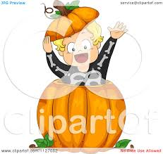 cartoon of a boy in a skeleton costume popping out of a halloween