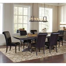 extension dining table and chairs weber smokey black 7 piece rectangular extension dining table set