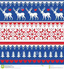 nordic seamless pattern with deer and christmas trees royalty free