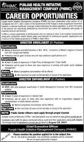 Jobs Economics Degree by Punjab Health Initiative Management Company Jobs Vacancies Career
