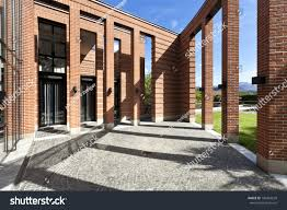 modern brick house modern bricks house patio columns stock photo 100423639 shutterstock
