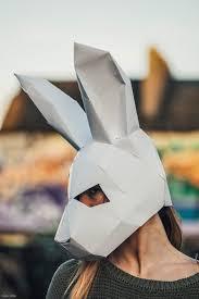 paper halloween bunny rabbit mask papercraft template festival