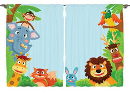 Monkey Curtains For Baby Room Cartoon Curtains For Kids Bedroom Amazon Com