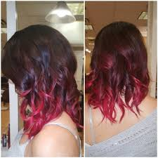 medium length hair with ombre highlights burgundy hair with dark red purple and brown highlights