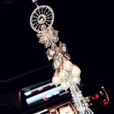 car charm ornaments hanging gear and pearl rear view mirror charm