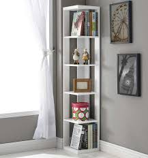 White Bookcase Ideas Corner White Bookshelf With 5 Tier Shelves With Simple Design