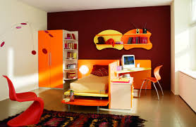 kids room orange bed frame and computer desk chair set also two