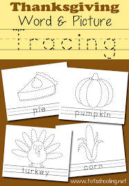 thanksgiving picture word tracing printables totschooling