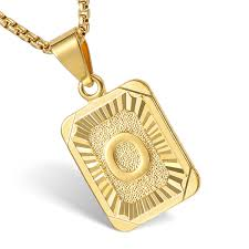gold letter necklace pendants images Mens women chain gold filled pendant necklace square initial jpg
