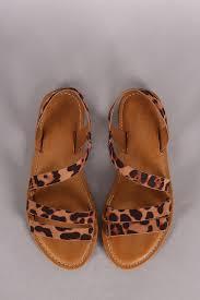 bamboo leopard strappy asymmetrical flat sandal urbanog
