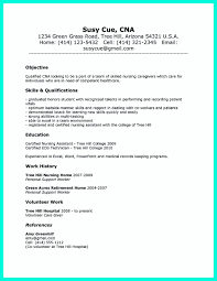 Caregiver Objective Resume Cna Resume Sample