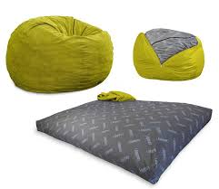 convertible bean bag chair converts from a chair to a mattress bed