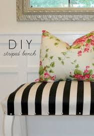 Fabric Bench For Bedroom Livelovediy Diy Striped Upholstered Bench