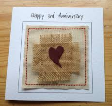words for anniversary cards third wedding anniversary card with leather heart 3rd anniversary