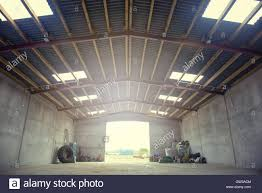 agriculture farm strorage warehouse interior at day light stock