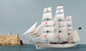 fully rigged three masted square riggers