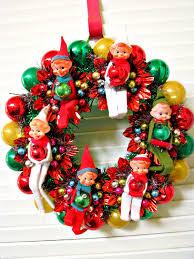vintage elf pixies kitsch christmas wreath 48 00 via etsy i