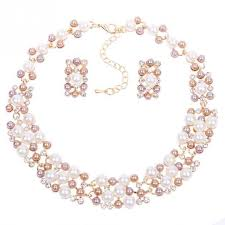 ladies necklace sets images New womens ladies jewellery sets rose gold plated faux pearl jpg