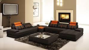 Orange Leather Sectional Sofa Living Room Black Orange Leather Sofa With Cushions Plus Black