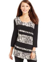 jm collection petite print block asymmetrical tunic only at