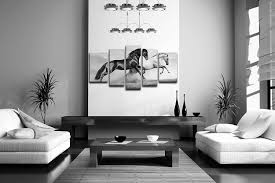amazon com 5 panel wall art black friesian running horse trot on
