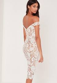 white dresses bardot lace midi dress white missguided