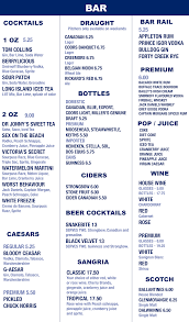 martini bar menu menu ams pub services