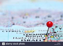 Beirut On Map Beirut Pinned On A Map Of Asia Stock Photo Royalty Free Image