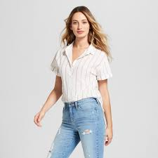 sleeve white blouse s striped sleeve button shirt universal thread