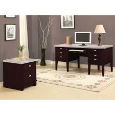 Overstock Office Desk Britney 6 Drawer White Marble Top Office Desk Free Shipping
