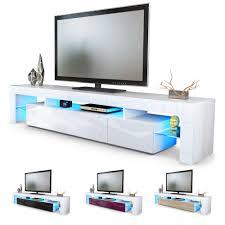 White High Gloss Computer Desk by Tv Unit Cabinet Stand Lima V2 Led 2 Doors 189cm White High Gloss