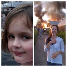 Chloe Little Girl Meme - disaster girl all grown up beheading boredom