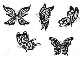 set of black butterfly tattoos vector illustration royalty free