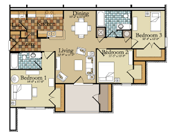 Floor Plans For 2 Bedroom Homes by 17 Stylish Three Bedroom Apartments Myonehouse Net