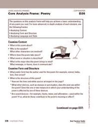 core analysis frame poetry 6th 8th grade worksheet lesson planet