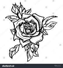 vector illustration red rose tattoo new stock vector 478386322