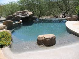 Landscape Rock Phoenix by Rustic Swimming Pool With Pool With Tub U0026 Exterior Tile Floors
