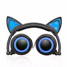 Jamsonic Led Light Up Foldable Cat Ear Headphones Use For Phones Pc