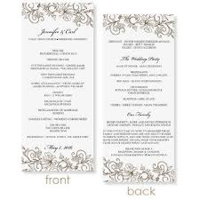 word template for wedding program instant wedding program template vintage bouquet