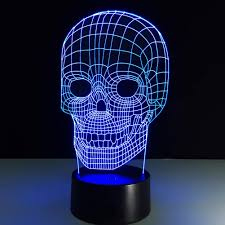 3d night lights 7 color changing skull usb optical illusion home